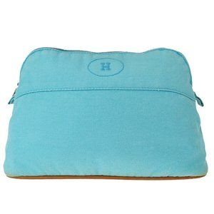 Hermes Bolide Cotton,Leather Pouch Blue